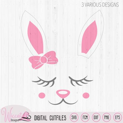 Easter bunny girl face with ribbon