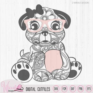 Paisley Hipster pug svg, girly pug