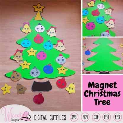 Christmas Kawaii tree, Kawaii Ornaments svg,