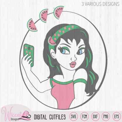 Melon Selfie girl svg, melon summer girl svg