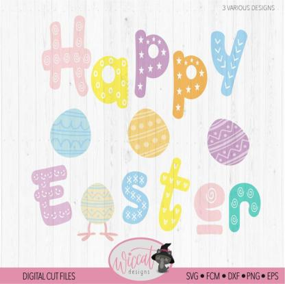Happy Easter with easter letters, Free cut file