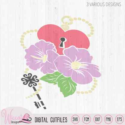 Hibiscus Flowers with key chain and heart lock