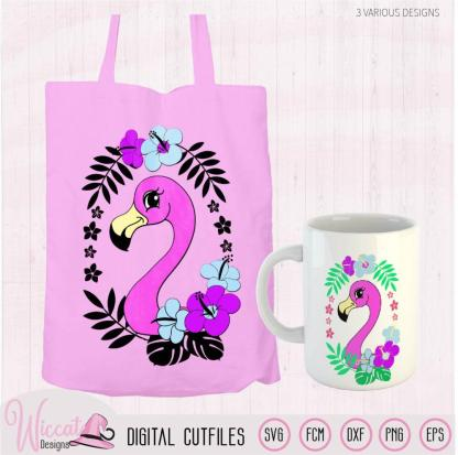 Summer Flamingo with tropical flowers