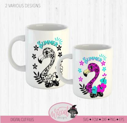 Doodle flower Flamingo, summer design