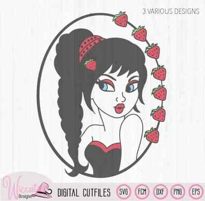 Vintage Strawberry girl svg, pin-up Cartoon