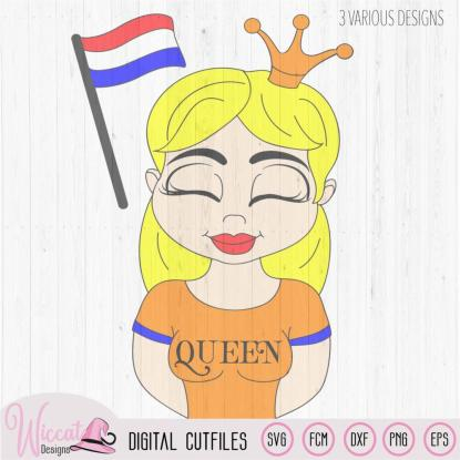 Dutch queen, Kingsday svg, Girl queen cartoon
