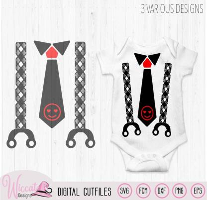 Valentine Baby neck tie and suspender,