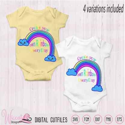 Make your own rainbow quote svg, kawaii rainbow, Kids design, word art, colorful design, baby t shirt, Summer svg, svg cricut, Scanncut fcm