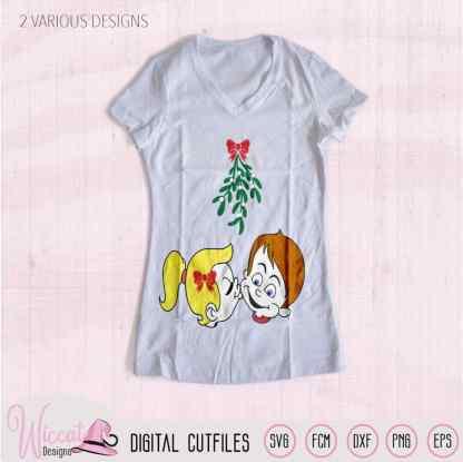 Cartoon couple Mistletoe kisses svg, vinyl craft, Holiday sign svg, Love shirt, htv design, dxf file, cricut svg, Scanncut file, cut file