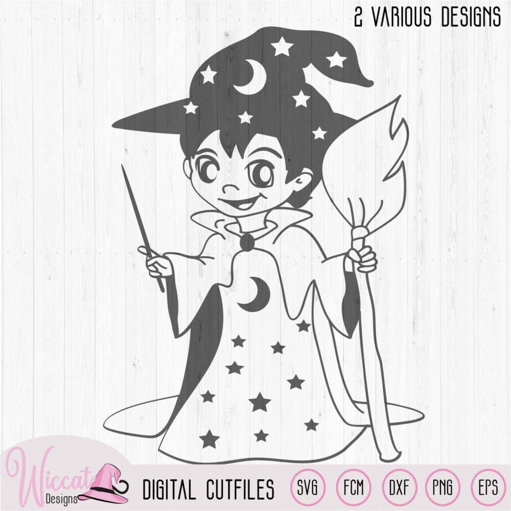 Little Wizard Svg Male Witch Boys Design Wiccat Designs