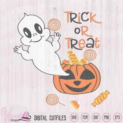 Ghost out of a pumpkin, baby Halloween, trick or treat file, pumpkin candy svg, Svg cut files, vinyl cut file, dxf cut file, cricut svg
