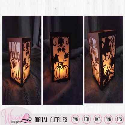 Hello fall lantern template,