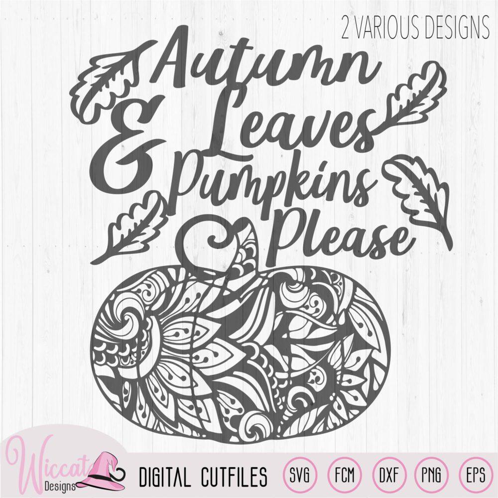 Autumn Leaves Doodle Pumpkin Wiccat Designs