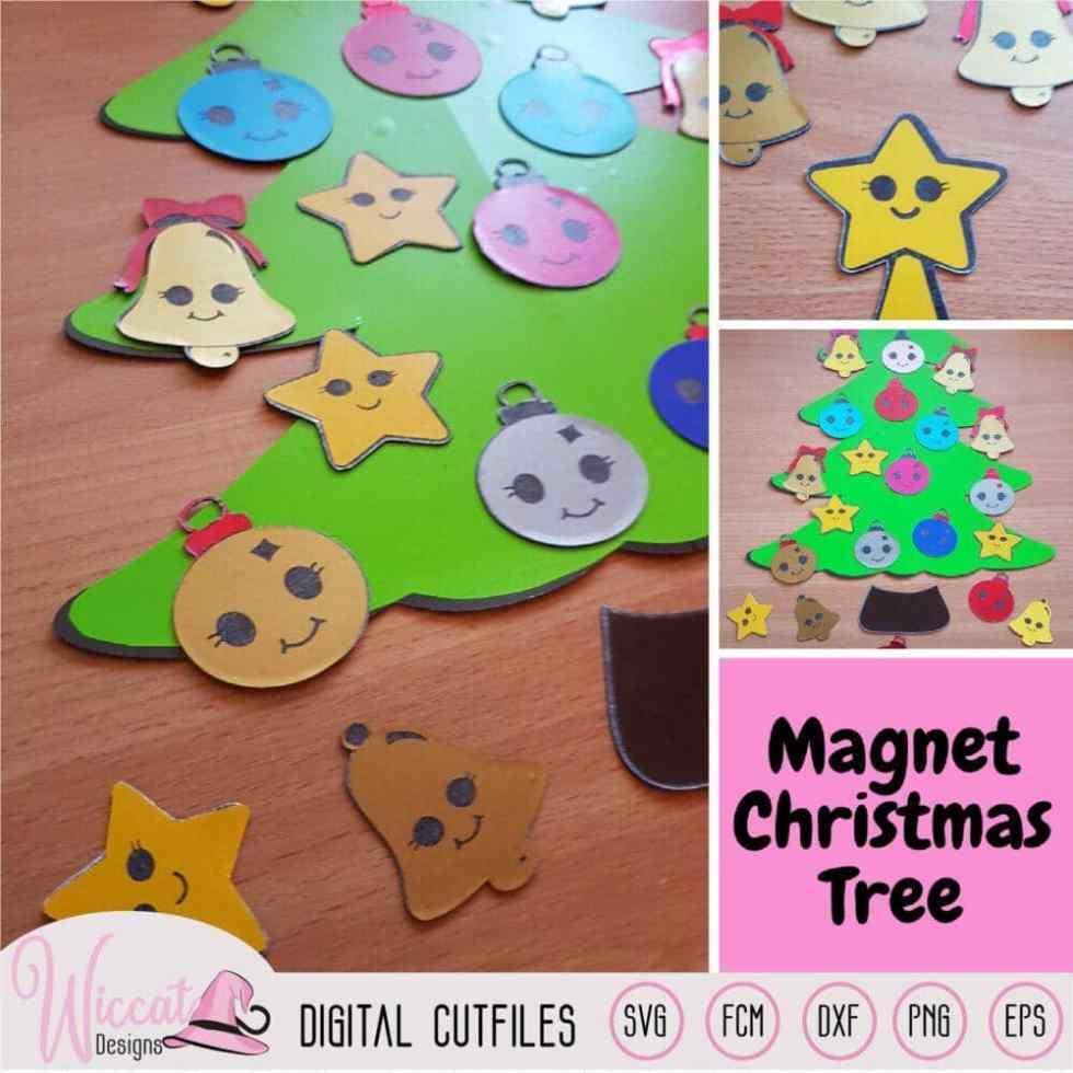 Cute kawaii Christmas tree with Magnet sheets