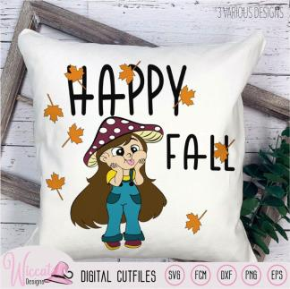 Funny mushroom girl, Happy fall quote,
