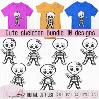 Cute skeleton bundle, boy skeleton, girl skeleton, dabbing skeleton, Halloween DIY decoration, scanncut fcm, svg cricut, vinyl craft toddler