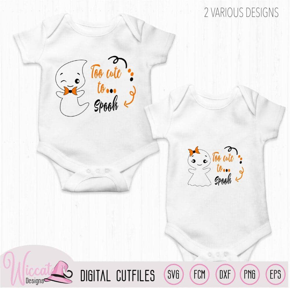 Too Cute To Spook Cute Ghost Quote Wiccat Designs