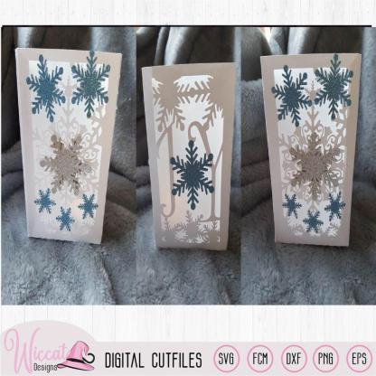Joy Christmas lantern template, snowflakes and ice stars,