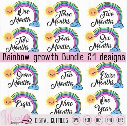 Rainbow monthly growth bundle, Rainbow baby