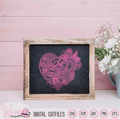 Valentine Paisley Heart,  zentangle Heart,