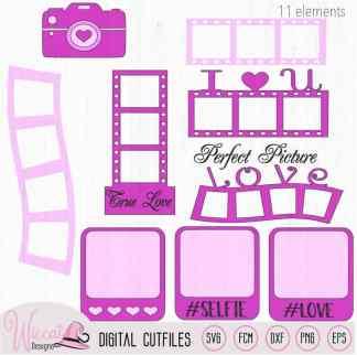 Valentine photo element kit, camera digital cut file,