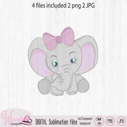 Baby girl elephant with pastel galaxy background