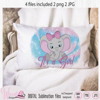 Baby girl elephant sublimation file, It's a girl