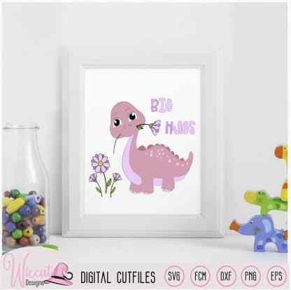 Girl baby dino, pink dinosaur svg,
