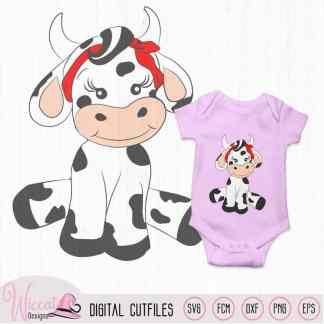 Cute baby girl cow for baby girl nursery, Heifer baby, farm animal svg file, fcm file, cricut, digital wall decor, vinyl craft, plotter file