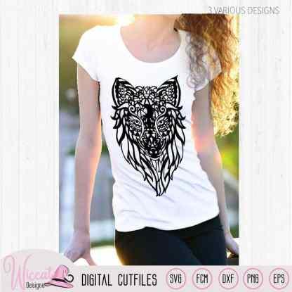 Mandala Wolf, zentangle wolf,