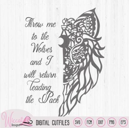 Zentangle Wolf leader of the Pack quote