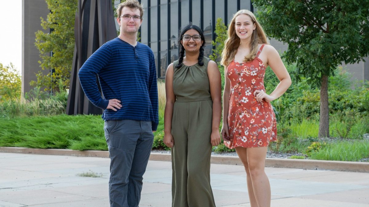 Youth climate activists Jarod Hudson, Anjali Singh and Marissa Rapp stand outside city hall. They called on Wichita's new sustainability board to include a diverse membership. (Alex Unruh/The Beacon)