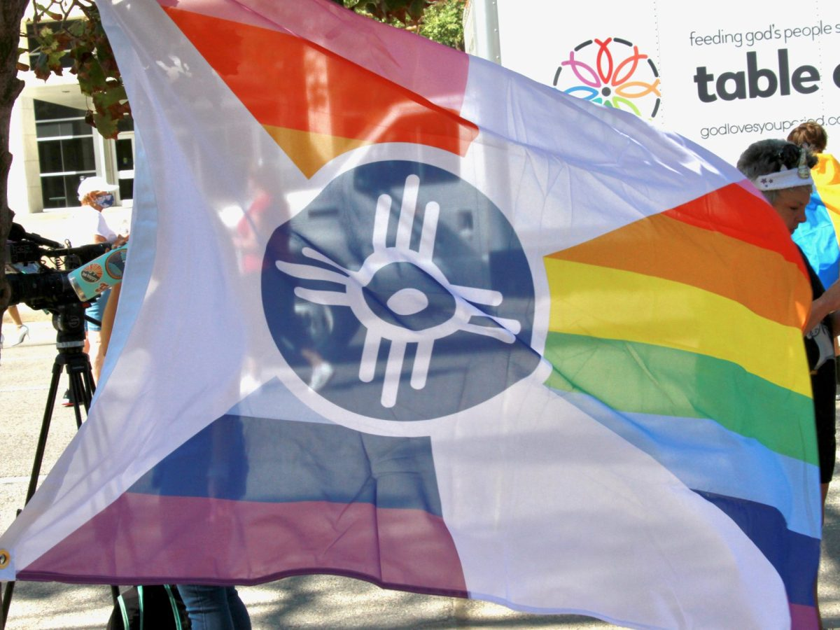 A Wichita pride flag flies during the Equality Rally at the Historic Sedgwick County Courthouse on Sept. 26. (Matt Hennie/The Beacon)