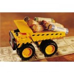 Dump truck carrying coins