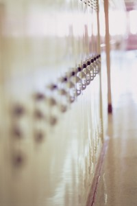 Row of lockers in school hallway