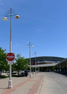 Wichita Transit Center, July 11, 2104. Some of the bulbs are apparently burnt out.