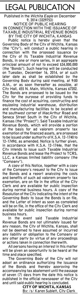 The city's publication of notice of a public hearing