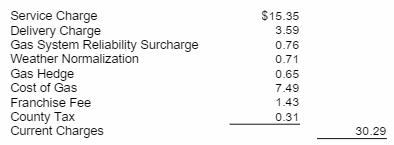 Excerpt from a gas bill in Wichita.
