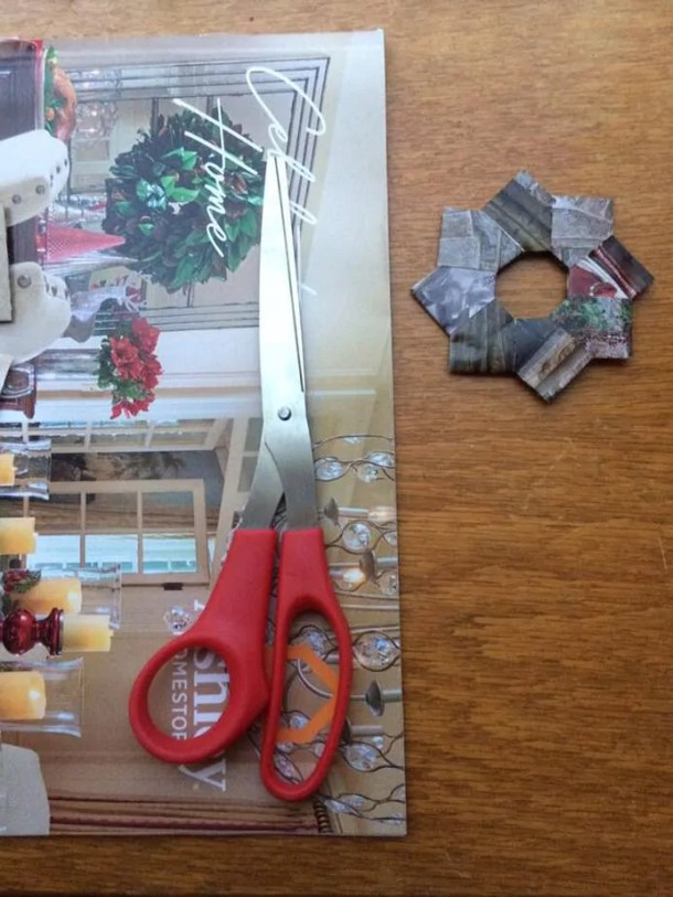 origami wreaths made from holiday catalogs