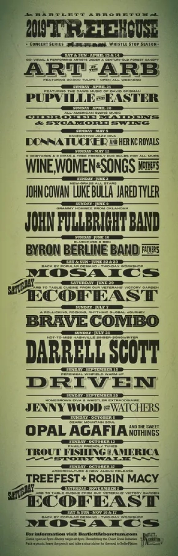 Flyer showing 2019 Treehouse Concerts at Bartlett Arboretum in Belle Plaine, KS