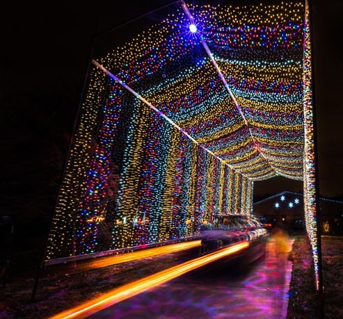 The Arc's Lights drive-through Christmas light tunnel