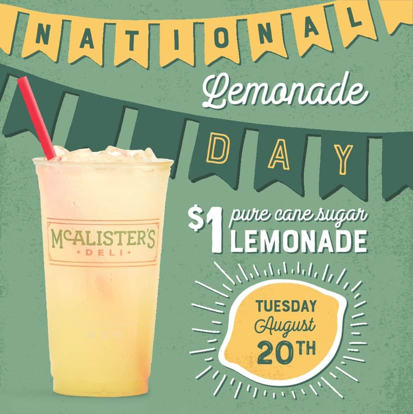 photograph regarding Mcalister's Coupons Printable identified as $1 Countrywide Lemonade Working day at McAlisters Deli