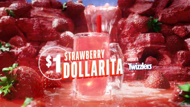 Applebees Neighborhood Drink of the Month for April 2019: Strawberry Dollarita with a Twizzler