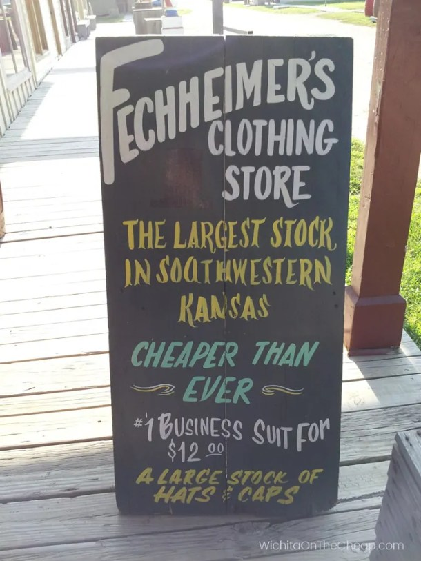 A sign outside the clothing store at Old Cowtown Museum in Wichita