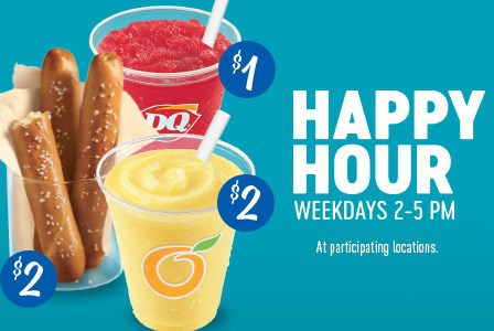 dairy queen happy hour fruit smoothie or small misty slush