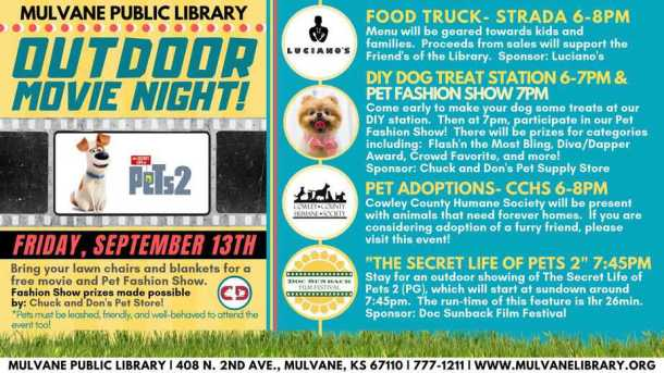 outdoor movie night with pets at mulvane public library
