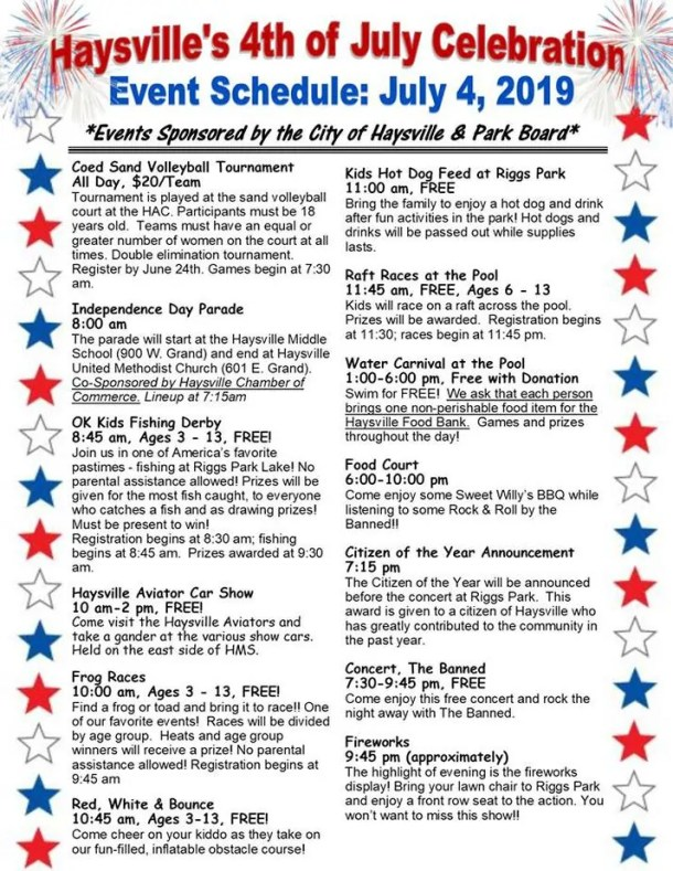 Flyer of Haysville 4th of July 2019 activities