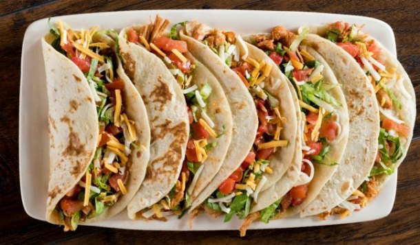 flour tortilla tacos at On the Border