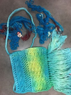 Mary Sue Foster's dyed yarn and dip-dyed purse
