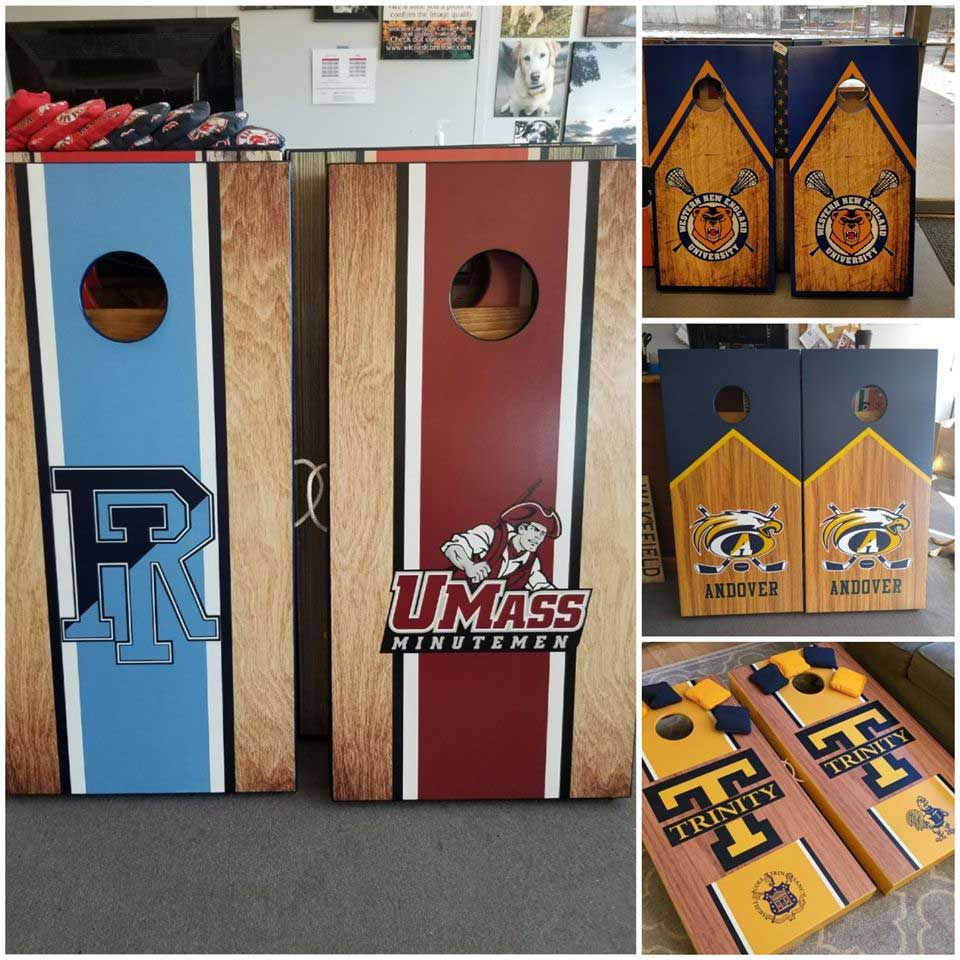 Show your college pride with custom cornhole sets with your schools logo.